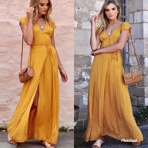 Mustard polka dots wrap summer long party dress